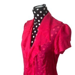 BCBGMaxAzria Tops - BCBGMaxAzria Hot Pink Sheer Ruffle Blouse Small